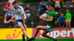 Laois goalkeeper Graham Brody makes a point-blank save from Monaghan's Conor McManus at Páirc Tailteann yesterday. Photo by Ramsey Cardy/Sportsfile