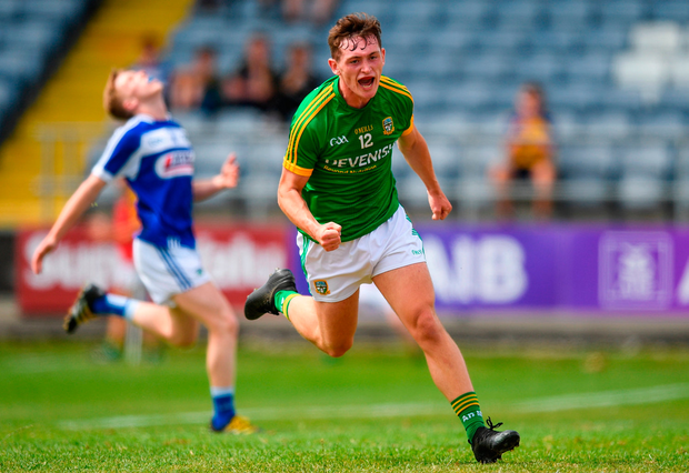 Bryan McCormack Meath celebrates after scoring his side's third goal. Photo by Eóin Noonan/Sportsfile