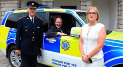 Transport Minister Shane Ross with Chief Supt Aidan Reid and Moyagh Murdock of the road Safety Authority last week. Photo: Collins