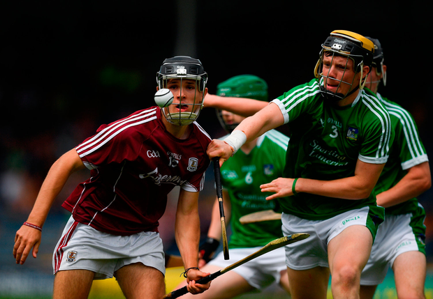 Dean Reilly of Galway in action against Ben Herlihy of Limerick. Photo by Ray McManus/Sportsfile