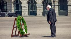 President Higgins lays a wreath at Collins Barracks in honour of Ireland's fallen. Photo: Tony Gavin