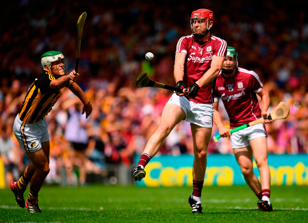 Johnny Glynn fires an effort at the Kilkenny posts during yesterday's Leinster SHC final replay in Thurles. Photo by Eóin Noonan/Sportsfile
