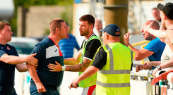 Sligo coach Rodney Dalzell argues with the club's supporters after their defeat against Bray Photo: Matt Browne/Sportsfile