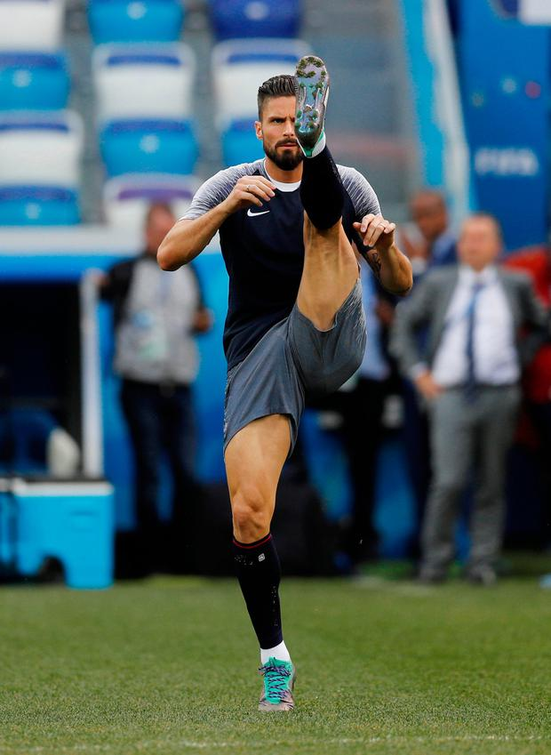 'Like Guivarc'h, Giroud (p) hasn't scored in the tournament yet, and barely had a chance.' Photo: Reuters/Darren Staples