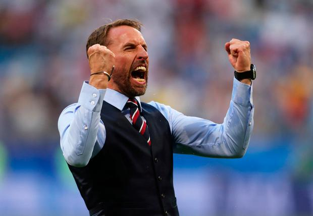 England manager Gareth Southgate celebrates after England secure a place in the semi-finals