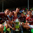 8 July 2018; Galway players celebrate with the Bob O'Keeffe Cup following the Leinster GAA Hurling Senior Championship Final Replay match between Kilkenny and Galway at Semple Stadium in Thurles, Co Tipperary. Photo by Eóin Noonan/Sportsfile