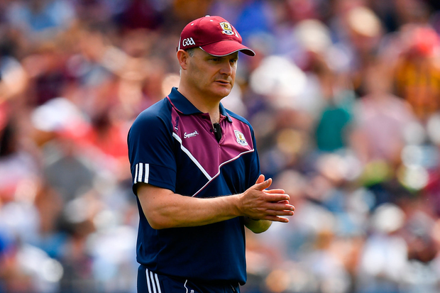 8 July 2018; Galway manager Micheál Donoghue prior to the Leinster GAA Hurling Senior Championship Final Replay match between Kilkenny and Galway at Semple Stadium in Thurles, Co Tipperary. Photo by Brendan Moran/Sportsfile