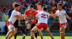7 July 2018; Luke Connolly of Cork in action against Tyrone players, from left, Pádraig Hamspey, Cathal McShane, Cathal McCarron and Michael McKernan during the GAA Football All-Ireland Senior Championship Round 4 between Cork and Tyrone at OMoore Park in Portlaoise, Co. Laois. Photo by Brendan Moran/Sportsfile