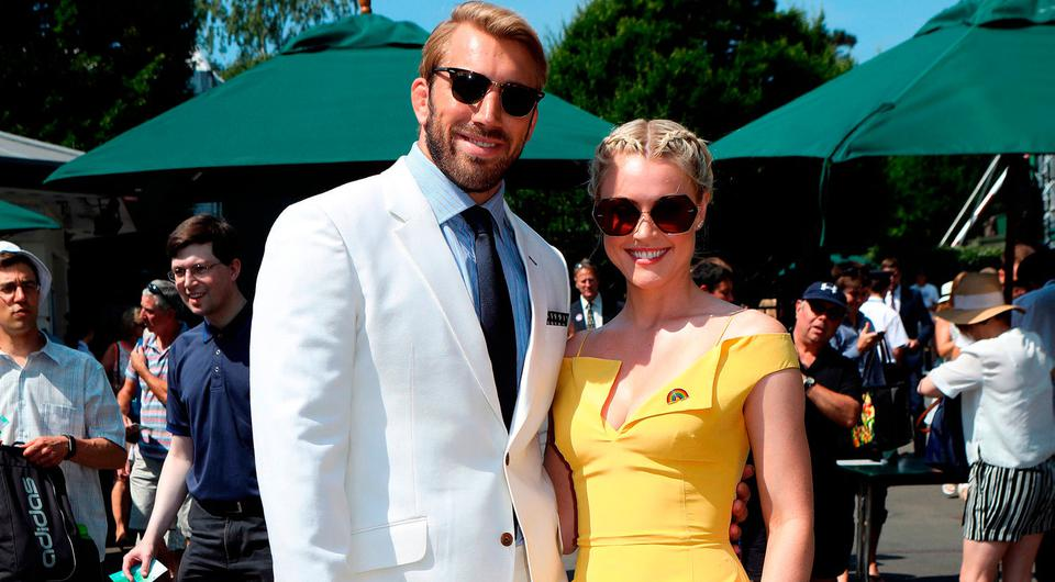 Chris Robshaw and Camilla Kerslake arrive on day six of the Wimbledon Championships at the All England Lawn Tennis and Croquet Club, Wimbledon