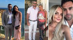 (L to R) Robbie Henshaw and Sophie Marren, Rob Kearney and Jess Redden, Joanna Cooper and Conor Murray at Jack McGrath and Sinead Corcoran's wedding in Portugal