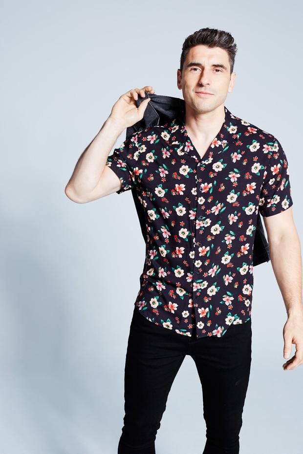 Bernard wears: floral shirt, €35, denim jacket, €75, skinny jeans, €40 at Littlewoods Ireland