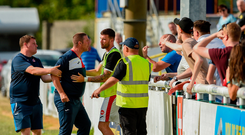 8 July 2018; Sligo Rovers goalkeeping coach Rodney Dalzell, centre, is held back by Sligo Rovers player Patrick McClean and a match steward after a confrontation with Sligo supporters after the SSE Airtricity League Premier Division match between Bray Wanderers and Sligo Rovers at the Carlisle Grounds in Bray, Co Wicklow. Photo by Matt Browne/Sportsfile