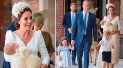 Kate Middleton carries Prince Louis, left, and Kate and William with Prince George and Princess Charlotte, right