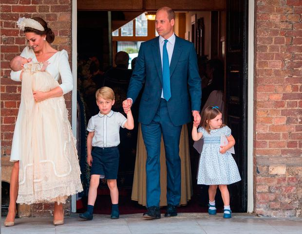 The Duke and Duchess of Cambridge with their children Prince George, Princess Charlotte and Prince Louis after Prince Louis's christening at the Chapel Royal, St James's Palace, London