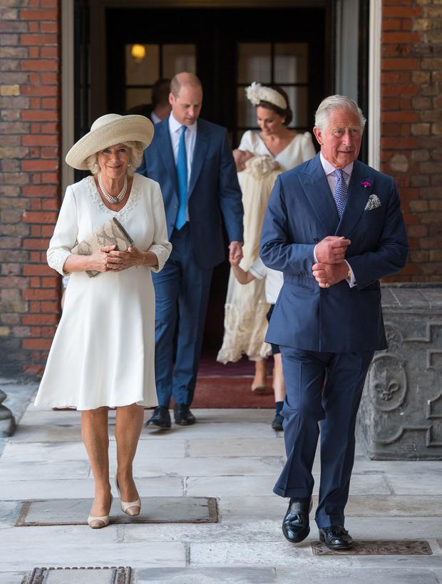 Britain's Prince Charles and Camilla, the Duchess of Cornwall, arrive for the christening of Prince Louis Dominic Lipinski/Pool via REUTERS