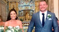 Sinead Corcoran's father Michael posted this image on Twitter of his daughter at her wedding to Leinster rugby star Jack McGrath in Alvor, Portugal