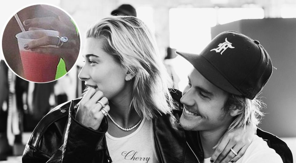 Hailey Balwin and Justin Bieber have confirmed their engagement | Inset: Hailey was spotted sporting a huge diamond on her ring finger, which fans believe to be her engagement ring