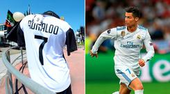 Juventus jersey's bearing Cristiano Ronaldo's name and the number 7 are on sale in Turin