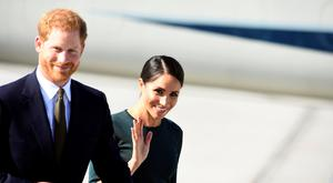 Britain's Prince Harry and his wife Meghan, the Duke and Duchess of Sussex, arrive at the airport for a two-day visit to Dublin, Ireland REUTERS/Cathal McNaughton