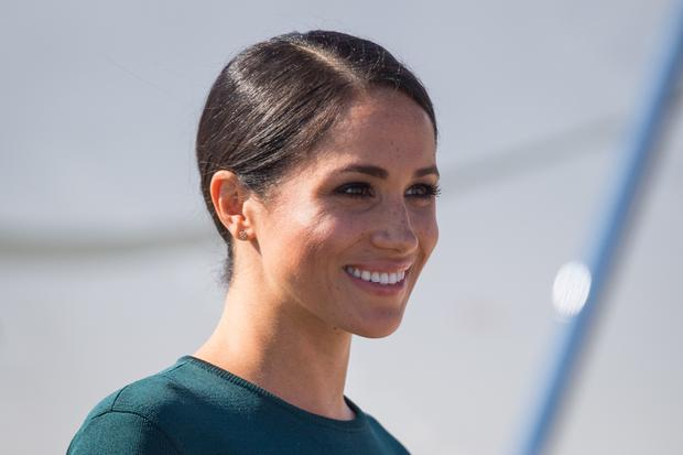 The duchess dazzled in an emerald green Givenchy dress as she arrived in Ireland (Dominic Lipinski/PA)