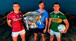 Galway's Damien Comer, Mick Fitzsimons of Dublin and Kerry's Shane Enright at yesterday's All-Ireland SFC Series launch at Dún Aengus on the Aran Islands. Photo by Brendan Moran/Sportsfile