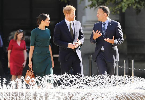 Prince Harry and Meghan Markle arrive at Government Buildings, Merrion Street greeted by Mr. Leo Varadkar T.D. An Taoiseach