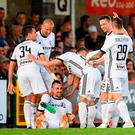 Michal Kucharczyk of Legia Warsaw celebrates with team-mates after scoring his side's first goal during the UEFA Champions League 1st Qualifying Round First Leg between Cork City and Legia Warsaw at Turner's Cross in Cork. Photo by Eóin Noonan/Sportsfile
