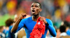 France's Paul Pogba celebrates after his team advanced to the final