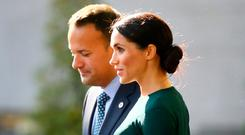Meghan Markle and Taoiseach Leo Varadkar at Government Buildings. Photo: Frank McGrath