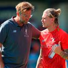 Liverpool's Loris Karius (right) speaks with manager Jurgen Klopp