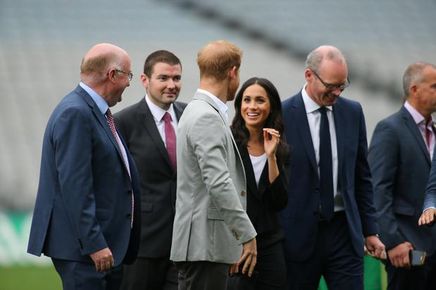 Prince Harry and Meghan, Duchess of Sussex, in Croke Park today with Tanaiste Simon Coveney Pic: Mark Condren
