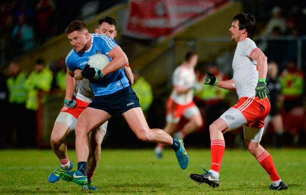 3 February 2018; Ciaran Kilkenny of Dublin in action against Matthew Donnelly, left, and Aidan McCrory of Tyrone, during the Allianz Football League Division 1 Round 2 match between Tyrone and Dublin at Healy Park in Omagh, County Tyrone. Photo by Oliver McVeigh/Sportsfile