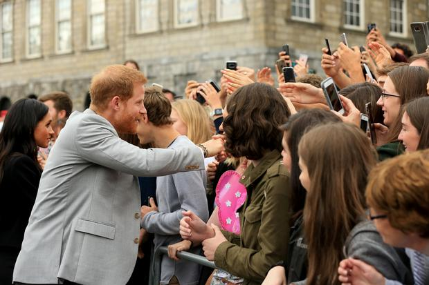 The Duke and Duchess of Sussex, Prince Harry and Meghan Markle pictured in Trinity college after their visit to the book of Kells. Picture; Gerry Mooney