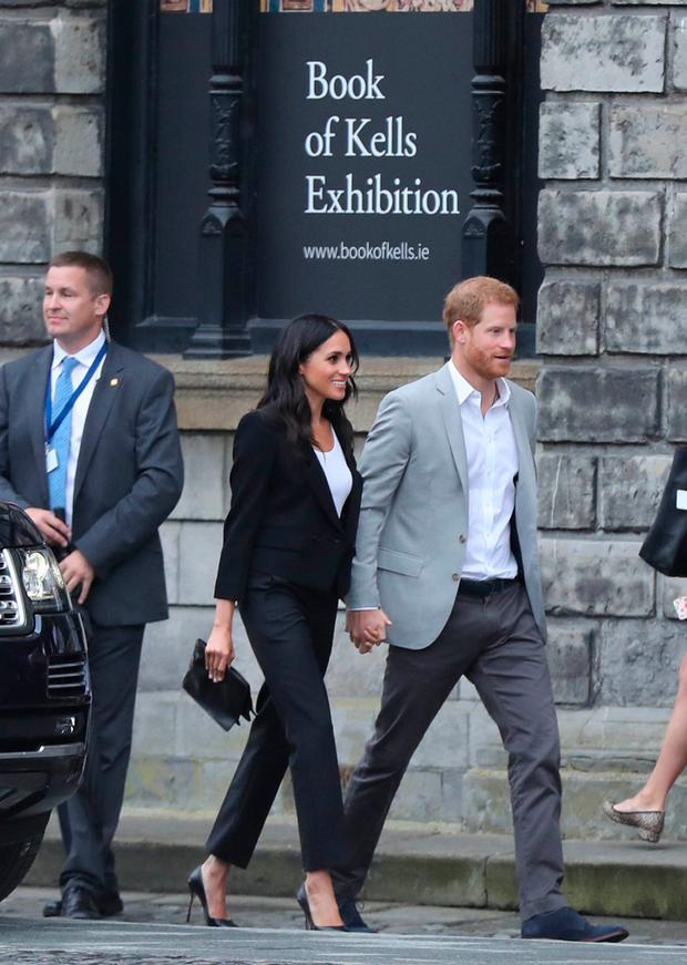 The Duke and Duchess of Sussex arrive at the Book of Kells Exhibition at Trinity College Photo: Gareth Fuller/PA Wire