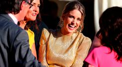 Actor Amy Huberman attends a Summer Party at the British Ambassador's residence at Glencairn House, during a visit to Dublin, Ireland, by The Duke and Duchess of Sussex