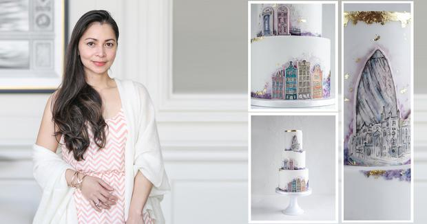 Jen from wedding cake atelier Cupcakes and Counting | Inset: Handpainted wedding cake tells couple's love story