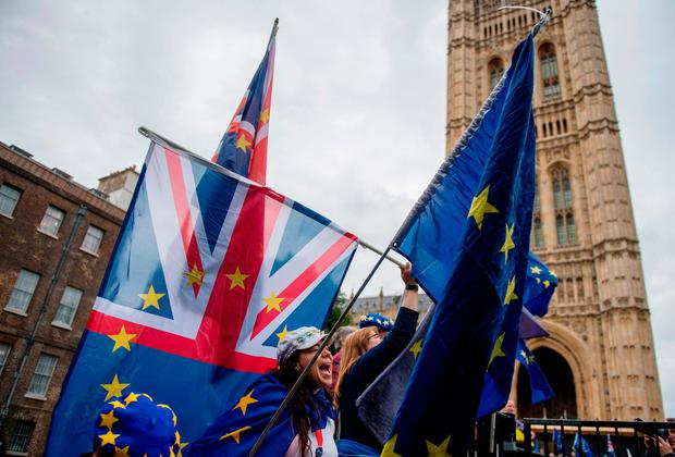 Anti-Brexit demonstrators at the Houses of Parliament as the EU withdrawal bill was debated in the House of Commons. Photo: Chris J Ratcliffe/Getty Images