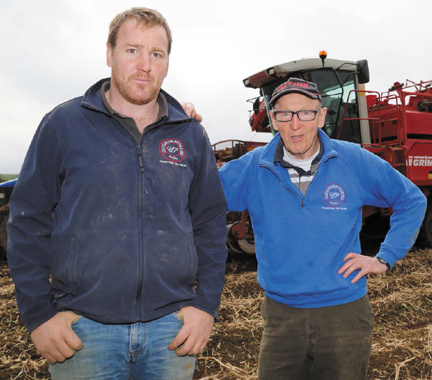 Ned English (right) and his son, Edward (left) have managed to irrigate 200 acres of potatoes out of 450 acres.