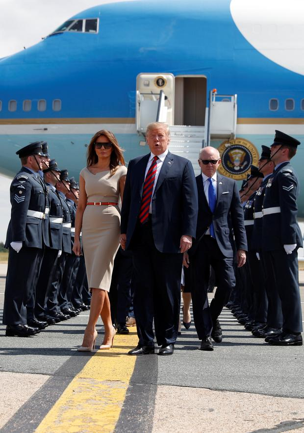 US President Donald Trump and first lady Melania Trump arrive at Stansted Airport, Britain, July 12 2018. REUTERS/Kevin Lamarque