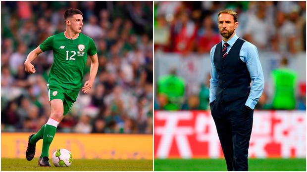 Declan Rice (left) and Gareth Southgate (right).