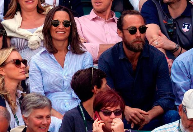 Pippa Matthews and James Middleton in the stands of court one on day nine of the Wimbledon Championships at the All England Lawn Tennis and Croquet Club, Wimbledon