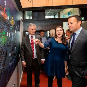 Provost of Trinity College Dublin, Dr Patrick Prendergast; Iseult Ward, co-founder of FoodCloud; and Taoiseach Leo Varadkar at the Grand Canal Innovation District launch. Photo: Naoise Culhane