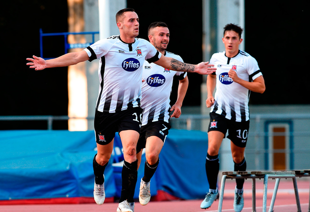Dylan Connolly of Dundalk celebrates after scoring the first goal