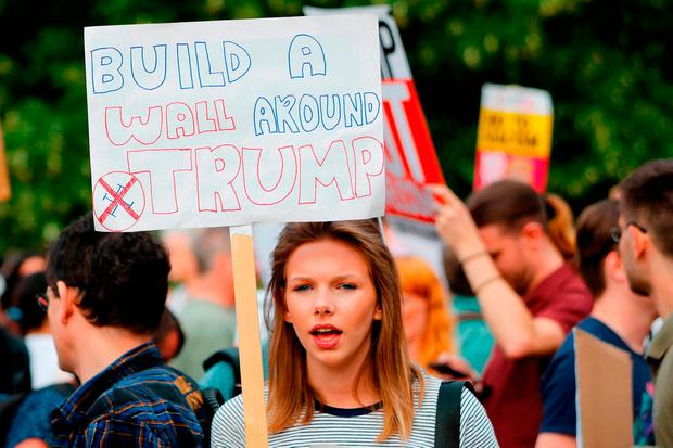 Protests against the visit of Donald Trump to Britain. Photo: Getty Images