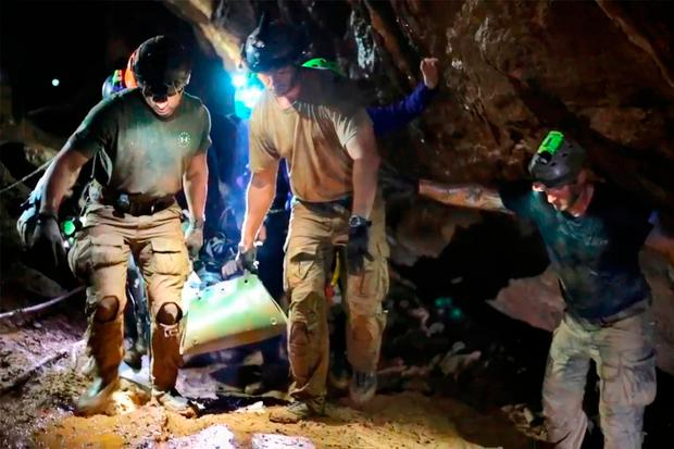 One of the 12 boys is carried out on a stretcher during the rescue operation in the Tham Luang cave. Photo: Royal Thai Navy/AFP