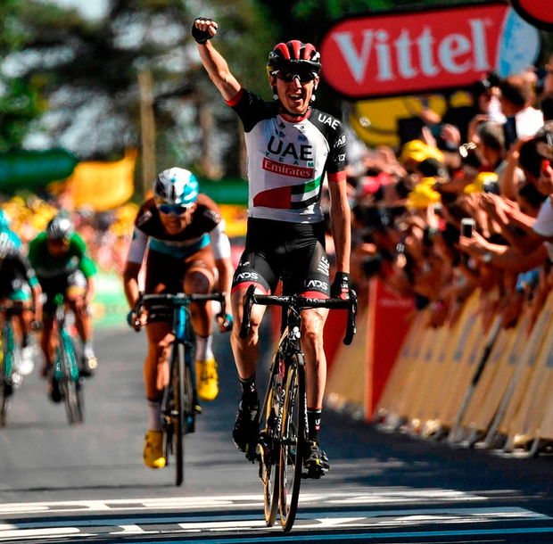 Dan Martin celebrates as he crosses the line to take yesterday's sixth stage of the Tour De France