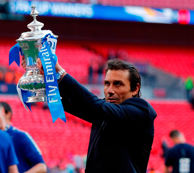 SILVERWARE: Conte won an FA Cup and league title with Chelsea. Photo: Reuters