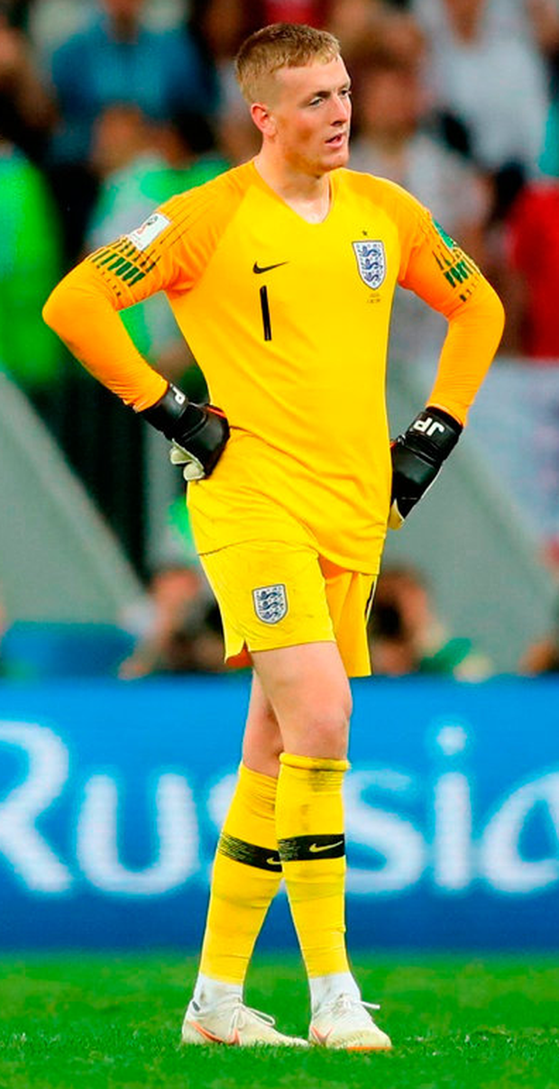 FINAL FLING: England keeper Jordan Pickford. Photo: Owen Humphreys/PA