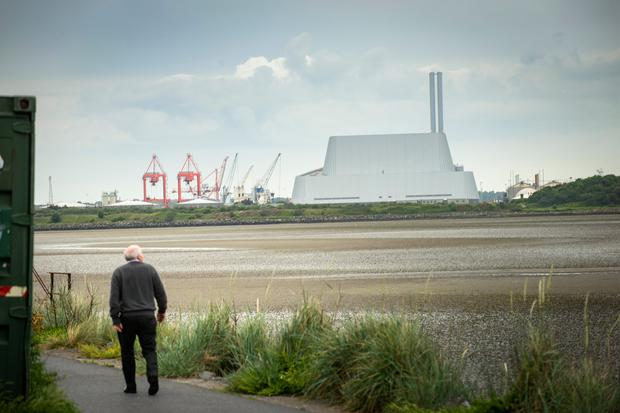 The Dublin Waste to Energy incinerator seen across Sandymount Strand
