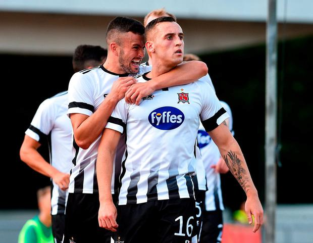 Dylan Connolly is congratulated by team-mate Michael Duffy after scoring Dundalk's winning goal over Levadia Tallinn in 2018. Photo: Matt Browne/Sportsfile